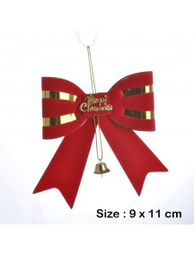 HO5459 - Christmas Tree Ornament Natal Red Bow Bell 9 CM