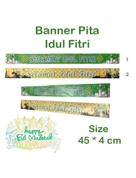 HO5467W - Banner Pita Bingkisan Lebaran Hiasan Idul Fitri 45*4 cm