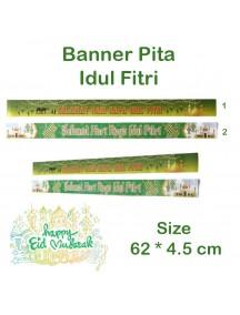 HO5468W - Banner Pita Bingkisan Lebaran Hiasan Idul Fitri 62*4.5 cm