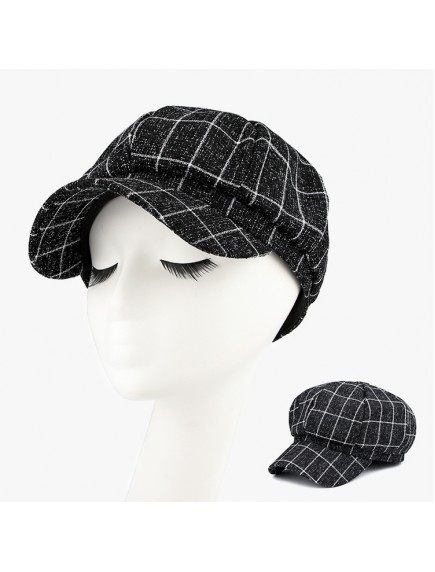 HO5473W - Topi Newspaperboy Hat Unisex Checkered Fashion