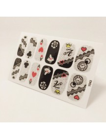 HO5475 - Glitter Gum Nail Sticker Kuku Silver Card