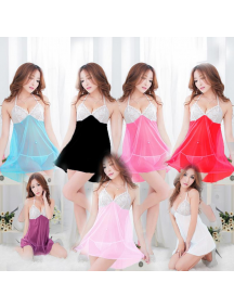 HO5480W - Sexy Lingerie Dress Baju Tidur Lace Babydoll Murah Big size (Set)
