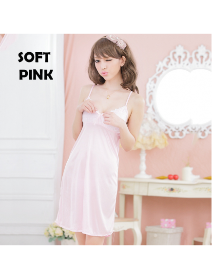 HO5481W - Sexy Lingerie Dress Baju Tidur Satin Babydoll Big Size (Set)