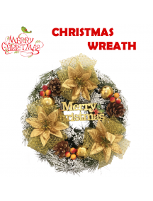 HO5491 - Christmas Wreath Dekorasi Natal Ring Hias Gold Snow