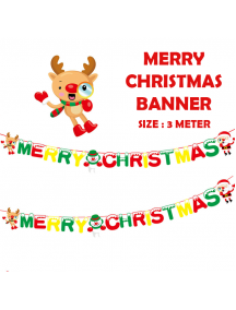 HO5509 - Dekorasi Ornament Banner Merry Christmas Deer