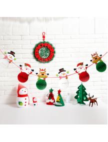 HO5510 - Dekorasi Ornament Banner Natal 3D Pull Flowers Christmas