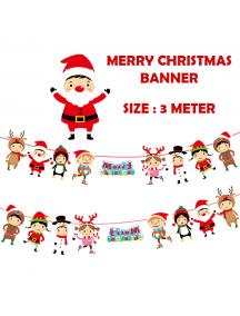 HO5515 - Dekorasi Ornament Banner Natal Paper Flag Merry Christmas
