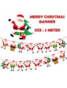 HO5516 - Dekorasi Ornament Banner Natal Paper Flag Santa Christmas