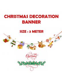 HO5517 - Dekorasi Ornament Banner Natal Glitter Flag Santa Christmas