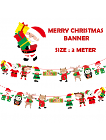 HO5518 - Dekorasi Ornament Banner Natal Deer Flag Santa Christmas