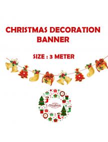 HO5519 - Dekorasi Ornament Banner Natal Gold Flag Santa Christmas