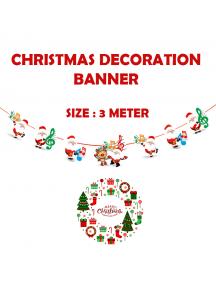 HO5520 - Dekorasi Ornament Banner Natal Music Flag Santa Christmas