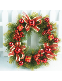 HO5528 - Christmas Decoration Red Wreath Natal Ring Hias 35cm