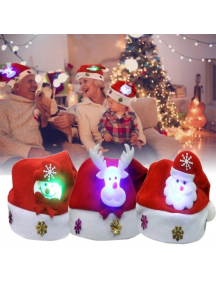 HO5541W - Aksesoris Topi Natal LED Light Up Christmas Santa Hat
