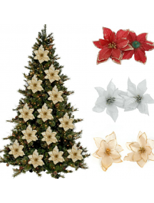 HO5543W - Dekorasi Christmas Flower Ornament Bunga Glitter Tips Natal