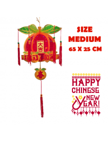 HO5568 - Hiasan Dekorasi Imlek Chinese New Year Gantungan Lampion Orange 3D (Medium)