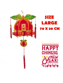 HO5569 - Hiasan Dekorasi Imlek Chinese New Year Gantungan Lampion Orange 3D (Large)