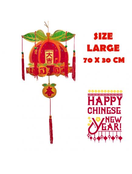 HO5569 - Hiasan Dekorasi Imlek Chinese New Year Gantungan Lampion Orange 3D (Large)