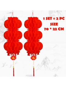 HO5570 - Hiasan Dekorasi Imlek Chinese New Year Lampion Gantung Set 70cm