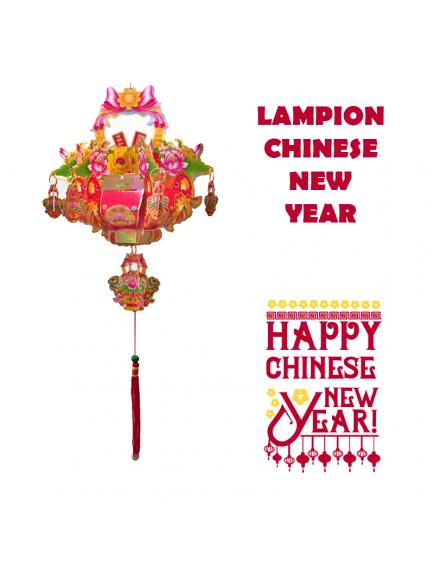 HO5571 - Hiasan Dekorasi Imlek Chinese New Year Gantungan Lampion Flower 3D