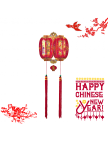 HO5575 - Hiasan Dekorasi Imlek Chinese New Year Gantungan Twin Lampion 3D