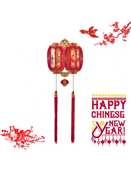 HO5575 - Hiasan Dekorasi Imlek Chinese New Year Gantungan Twin Lampion 3D