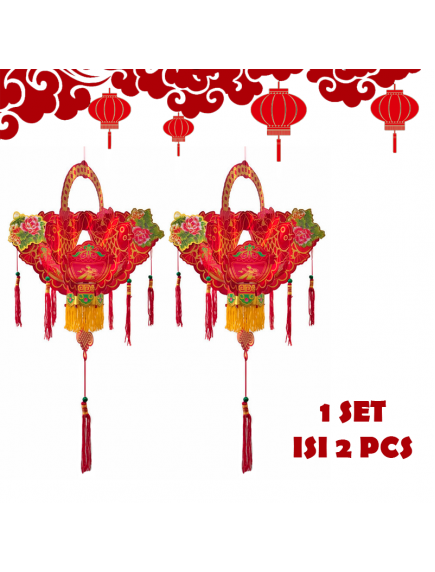 HO5577- Hiasan Dekorasi Imlek Chinese New Year Gantungan Double Flower Set