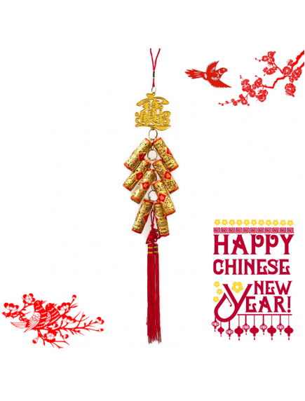 HO5578 - Hiasan Dekorasi Imlek Chinese New Year Golden Cracker 50 cm