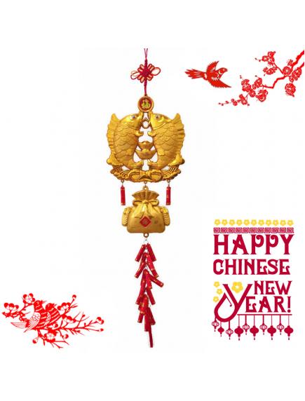 HO5580 - Hiasan Dekorasi Imlek Chinese New Year Golden Big Koi