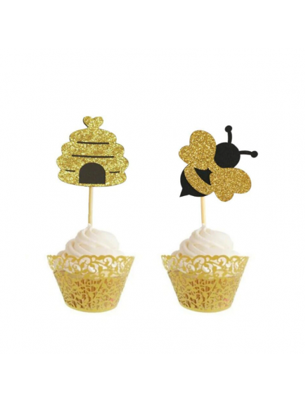 HO5582W - Hiasan Dekorasi Kue Cupcake Topper Party Glitter Bee