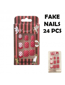 HO5583 - Polkadot Fake Nails / Kuku Palsu 24 pcs