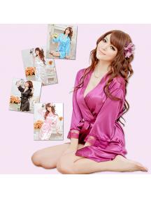 HO5586W - Sexy Kimono Lingerie Nightgown Lace Set