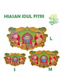 HO5605 - Hiasan Lebaran Tempelan Dekorasi Selamat Hari Raya Idul Fitri Glitter (Size S)
