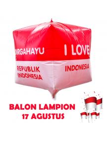 HO5611 - Dekorasi 17 Agustus HUT RI Balon Foil Lampion Kotak Besar 28cm