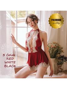 HO5635W - Premium Lingerie Halter Lace Dress Hot Sexy Set Import