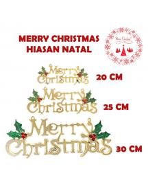 HO5648 - Ornamen Dekorasi Pohon Natal Merry Christmas Gold (20cm)