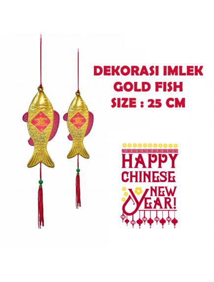 HO5698 - Hiasan Dekorasi Imlek Gantungan Pohon Fish Gold (25 cm)