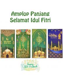 HO5704 - Premium Amplop/Angpao Panjang Idul Fitri isi 6 pc Masjid (Large)