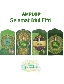 HO5705 - Premium Amplop/Angpao Medium Idul Fitri isi 8 pc Masjid (Medium)
