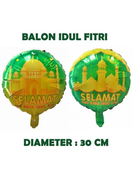 HO5709 - Hiasan Balon Bulat Foil Hari Raya Ornament Idul Fitri 2 Sisi