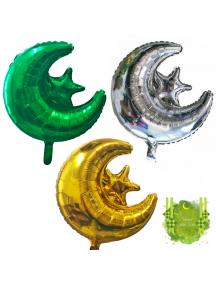 HO5710W - Hiasan Balon Bulat Foil Bulan Bintang Ornament Idul Fitri