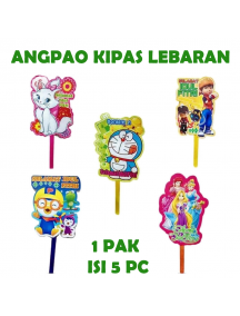 HO5713 - Amplop/Angpao Kipas Idul Fitri Karakter isi 5 pc Vertikal (Random)