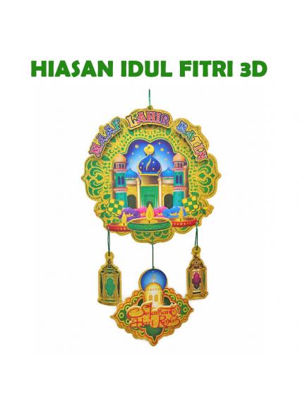 HO5716 - Dekorasi Hiasan Idul Fitri Gantung 3D Selamat Hari Raya Premium