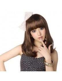 HO2178 - Hair Wig Rambut Palsu Sedang Wavy (Light Brown)