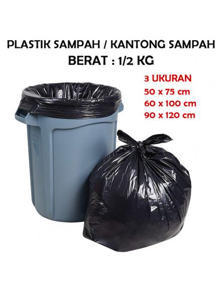 KF1015 - Plastik Sampah / Kantong Sampah Trash Bag Hitam (50x75 cm)