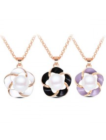 RKL1072W - Aksesoris Kalung Flower Pearl