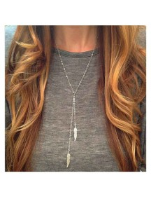 RKL1096W - Kalung Chain Metal Feather