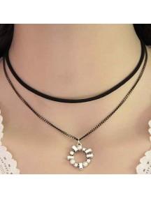 RKL1134 - Kalung Choker Double Chain Crystal Circle