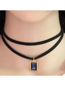 RKL1151 - Kalung Choker Collar Double Sapphire