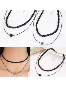 RKL1153W - Kalung Choker Double Square Crystal